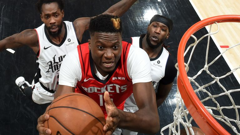 Clint Capela attacks the rim against the Clippers