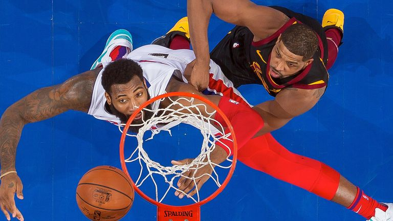 Andre Drummond and Tristan Thompson compete for a rebound
