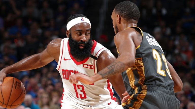 James Harden goes to work on offense against the Thunder