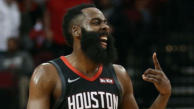 James Harden celebrates a basket in Houston's win over Denver