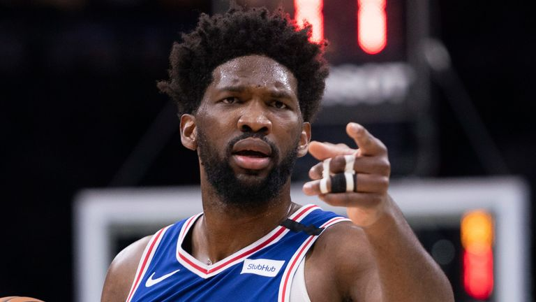Joel Embiid in action for Philadelphia after receiving treatment for a finger injury
