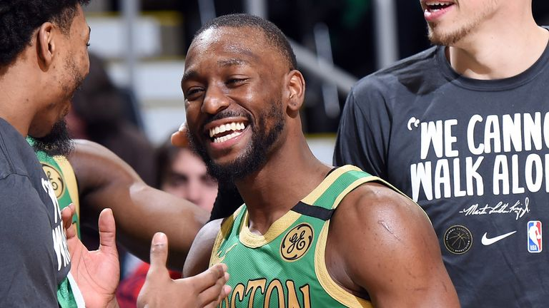 Kemba Walker celebrates Boston's victory over the Lakers