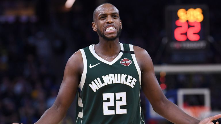 Khris Middleton questions a call during a Milwaukee Bucks game