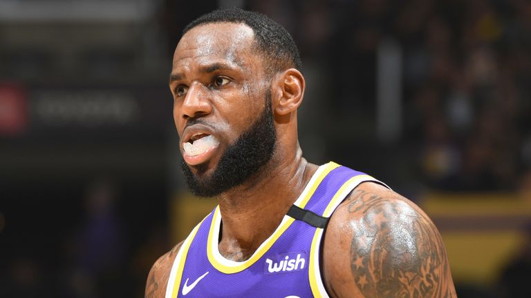 LeBron James in action for the Lakers against the Magic