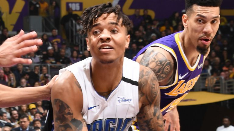Markelle Fultz pivots in the paint during the Magic's win over the Lakers