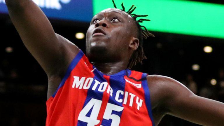 Sekou Doumbouya scores at the rim against the Boston Celtics