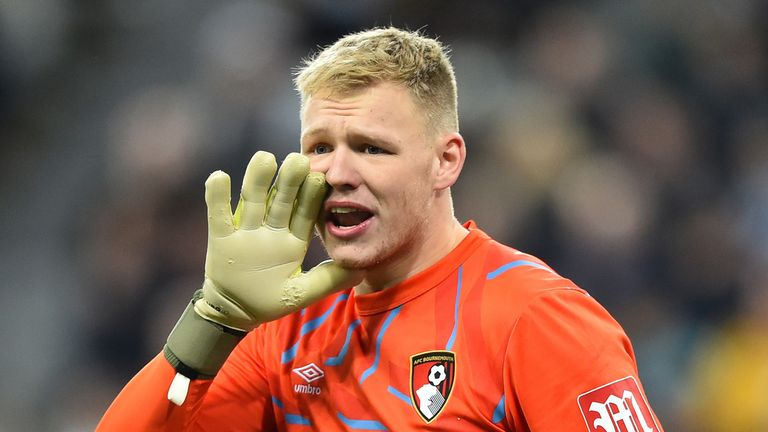 Aaron Ramsdale of AFC Bournemouth gives his team instructions during the Premier League match between Newcastle United and AFC Bournemouth at St. James Park on November 09, 2019 in Newcastle upon Tyne, United Kingdom.