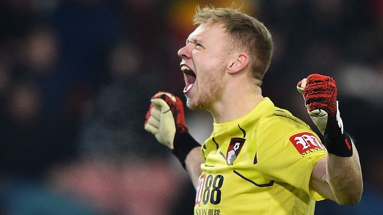Aaron Ramsdale celebrates Bournemouth's win over Brighton
