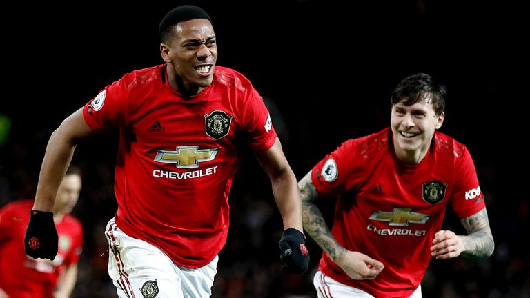Manchester United's Anthony Martial celebrates scoring his side's third goal of the game