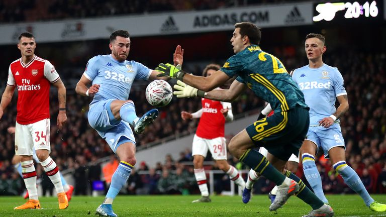 Leeds' Jack Harrison is closed down by Arsenal's Emiliano Martinez