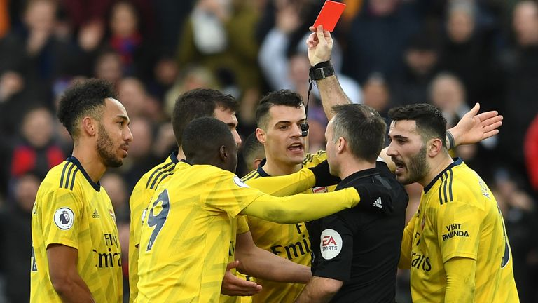 Pierre-Emerick Aubameyang was issued a red card against Crystal Palace, following a VAR review