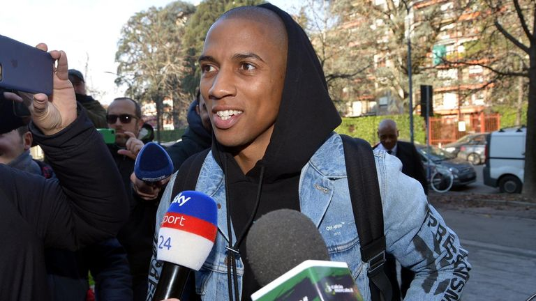 Ashley Young arrives at Inter Milan for a medical