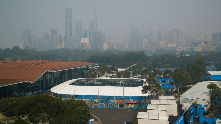Bushfire smoke affected play at the Australian Open qualifiers in Melbourne on Monday