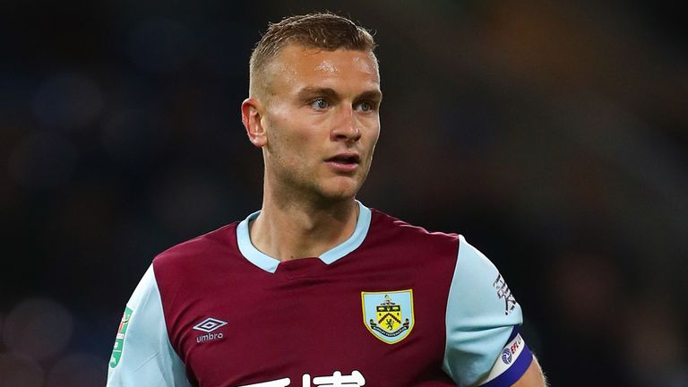 Ben Gibson of Burnley during the Carabao Cup Second Round fixture between Burnley and Sunderland at Turf Moor on August 28, 2019 in Burnley, England.