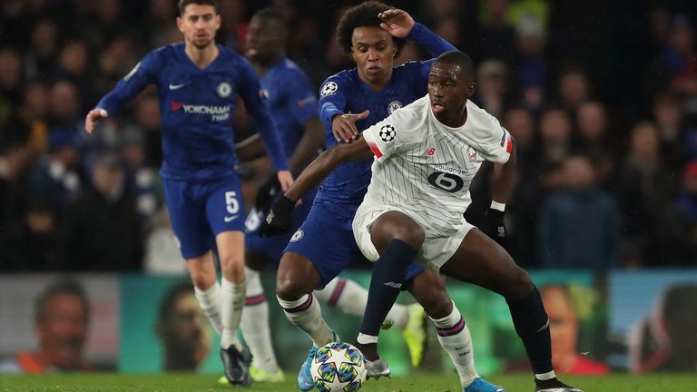 Soumare in action for Lille against Chelsea in the Champions League