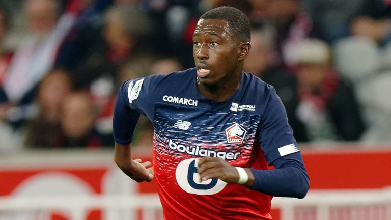 Lille's Boubakary Soumare during a Ligue 1 match against Nimes at Stade Pierre Mauroy