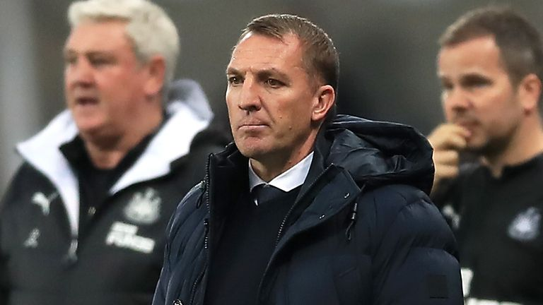 Leicester City manager Brendan Rodgers (centre) looks on during the Premier League match at St James' Park, Newcastle.