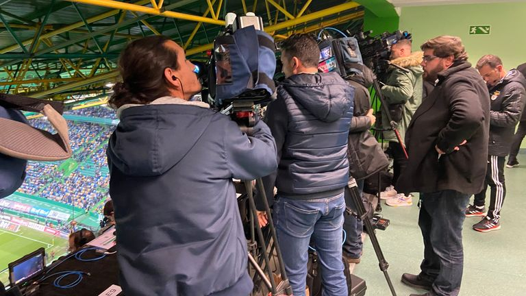 Plenty of camera crews were in attendance to see Bruno Fernandes