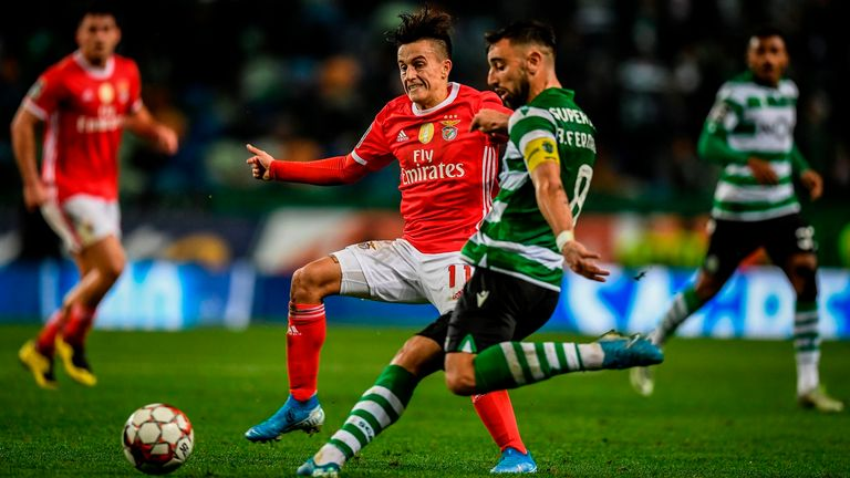 Bruno Fernandes in action for Sporting against Benfica