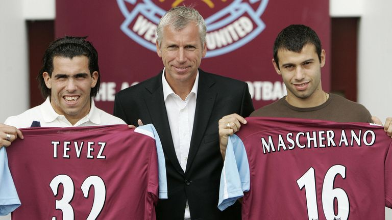 West Ham boss Alan Pardew unveils Deadline Day signings Carlos Tevez and Javier Mascherano at Upton Park in August 2006