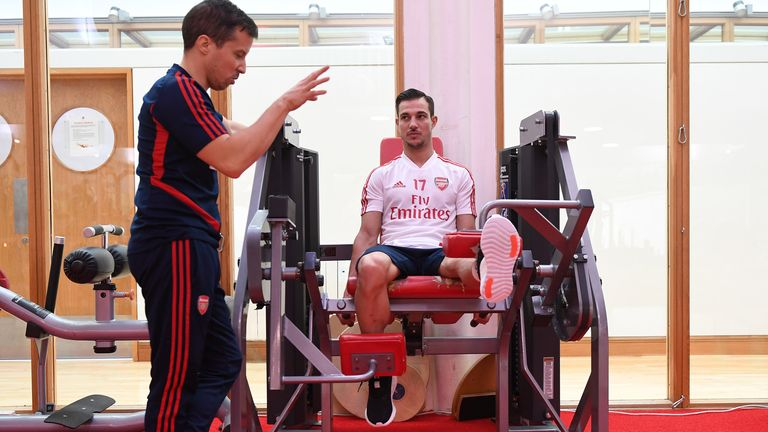 Cedric Soares trains in the gym at London Colney