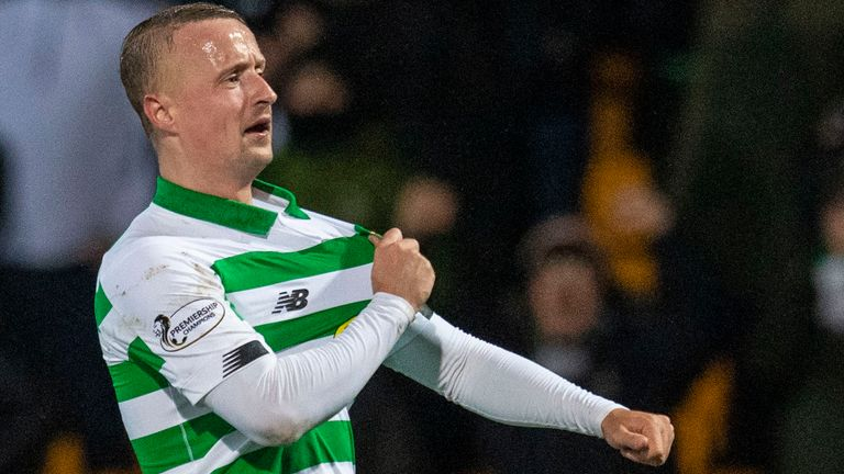 Celtic's Leigh Griffiths celebrates making it 3-0 at St Johnstone