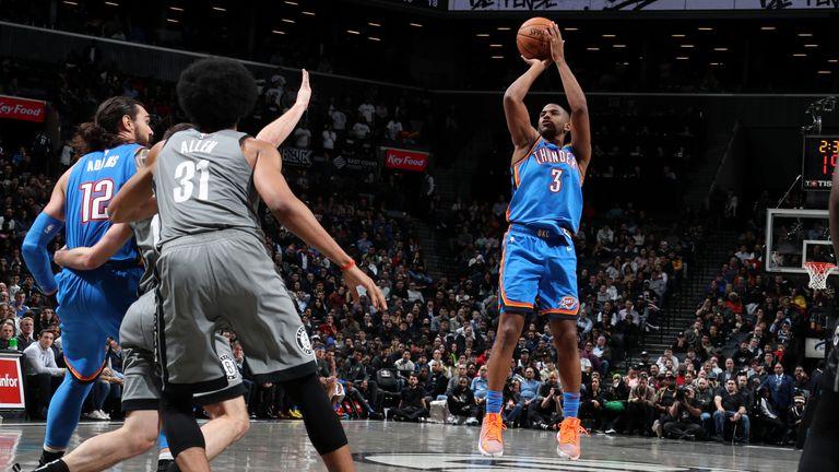Chris Paul of the Oklahoma City Thunder shoots the ball against the Brooklyn Nets