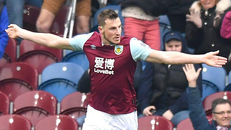 Chris Wood celebrates his goal for Burnley