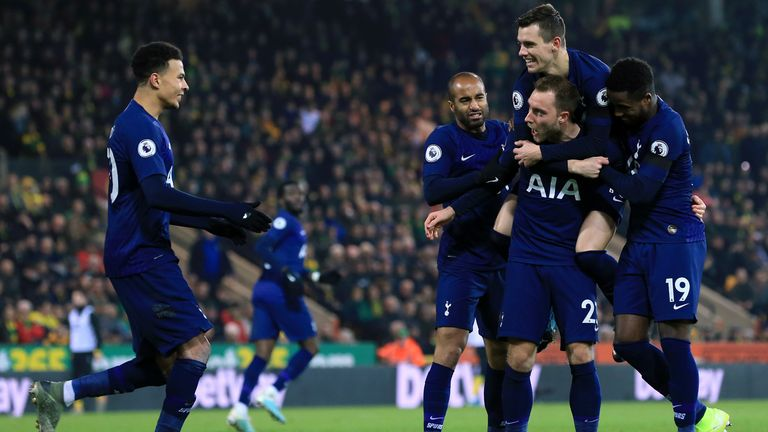Christian Eriksen celebrates with team-mates Lucas Moura, Giovani Lo Celso, Ryan Sessegnon and Dele Alli after scoring against Norwich City