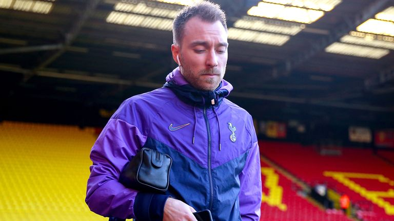 Tottenham Hotspur's Christian Eriksen arrives at Vicarage Road ahead of the Premier League match against Watford