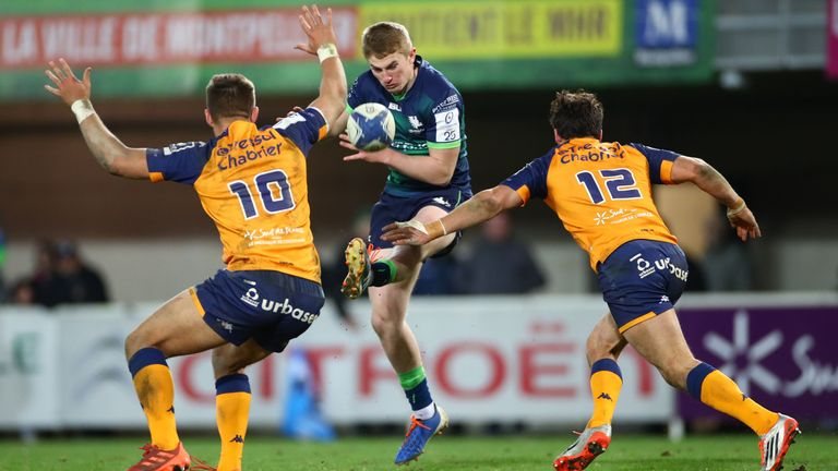 Connacht's Conor Fitzgerald kicks the ball clear of Handre Pollard and Jan Serfontein
