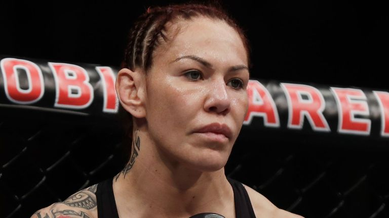 Cris Cyborg and Yana Kunitskaya fight during their women..s featherweight title bout during UFC 222 at T-Mobile Arena on March 3, 2018 in Las Vegas, Nevada.
