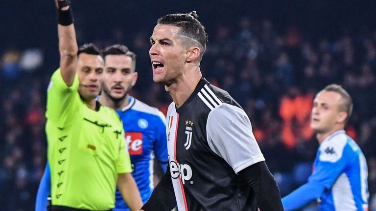 Cristiano Ronaldo is booked and shows his frustration as Napoli beat Juventus
