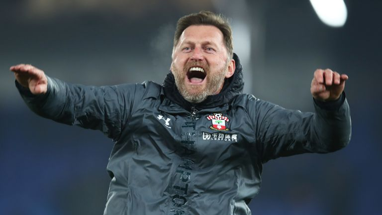 Ralph Hasenhuttl celebrates with the travelling supporters at the final whistle