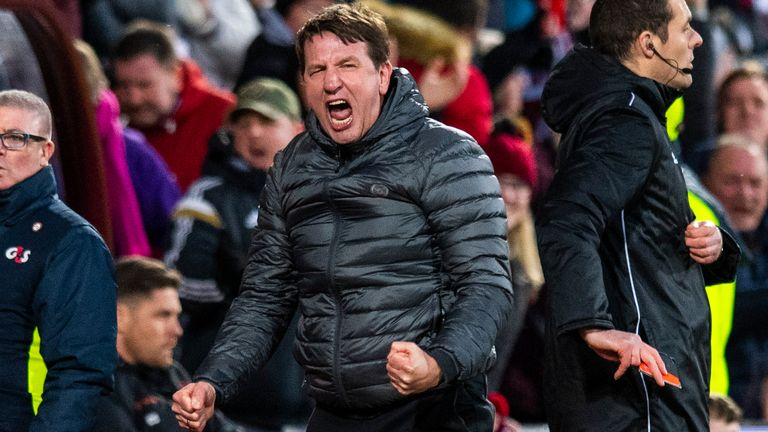 Daniel Stendel secured his first league win with Hearts at the seventh attempt