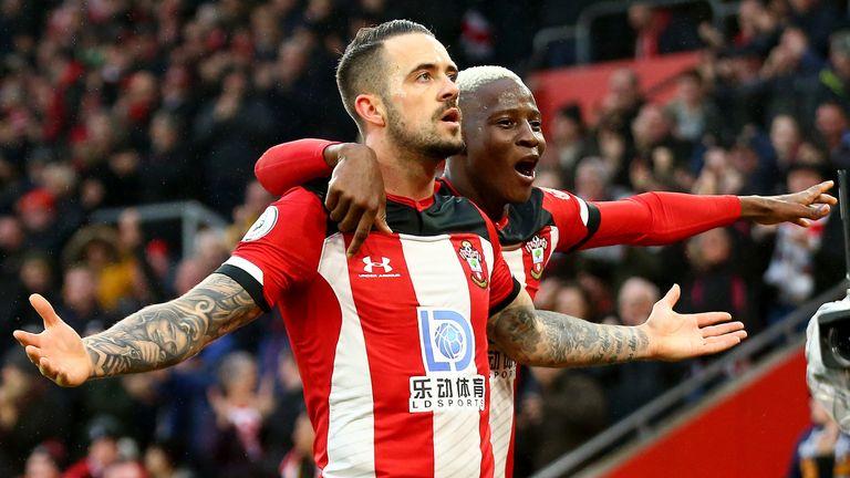 Danny Ings celebrates his goal with Moussa Djenepo