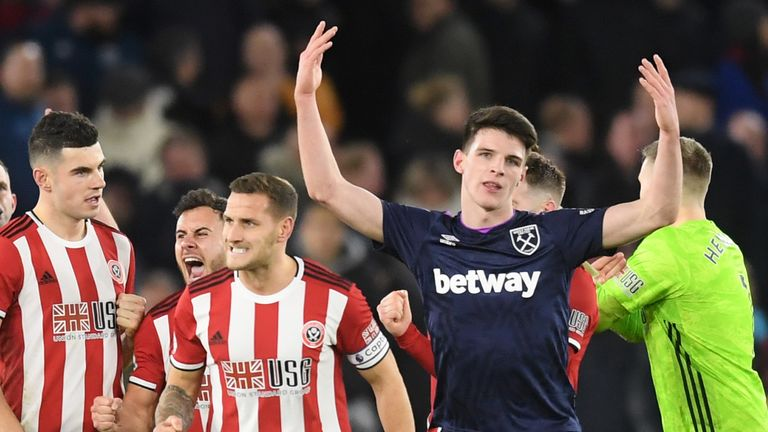 Declan Rice shows his anger after his goal was ruled out by VAR