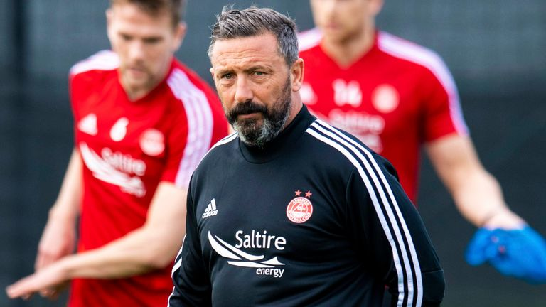 Aberdeen boss Derek McInnes leads training in Dubai