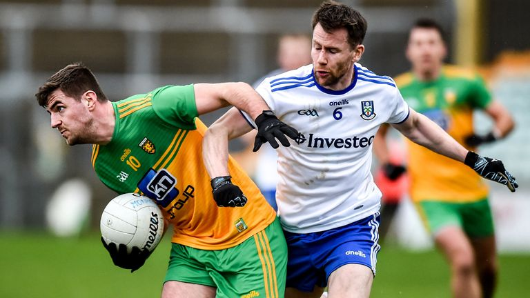 Daire Ó Baoill of Donegal in action against Karl O'Connell of Monaghan during their McKenna Cup clash in Ballybofey