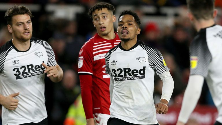 Derby County's Duane Holmes celebrates scoring his side's late equaliser