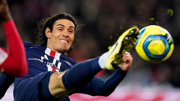Edinson Cavani during the Ligue 1  match between Paris Saint Germain and Monaco at Parc des Princes on January 12, 2020