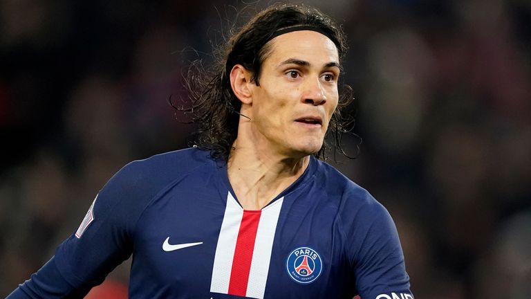 Edinson Cavani in action fro PSG