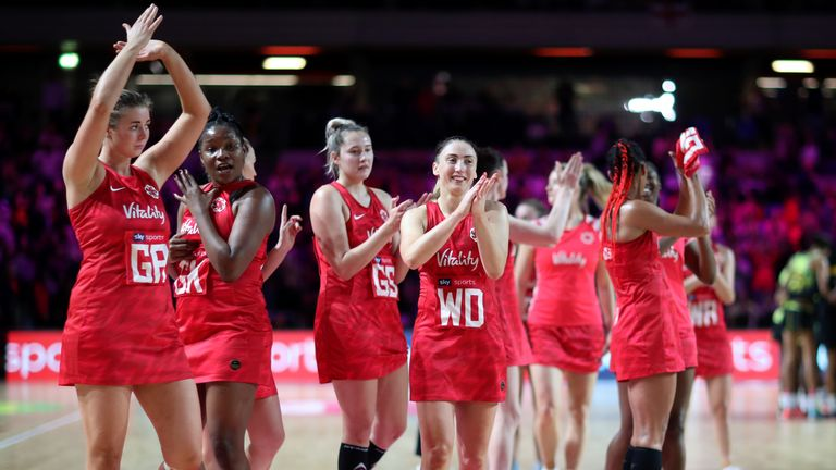 England show their appreciation to the crowd after their teams loss in the Vitality Netball Nations Cup 2020 match between Vitality Roses and Jamaica Sunshine Girls at Copper Box Arena