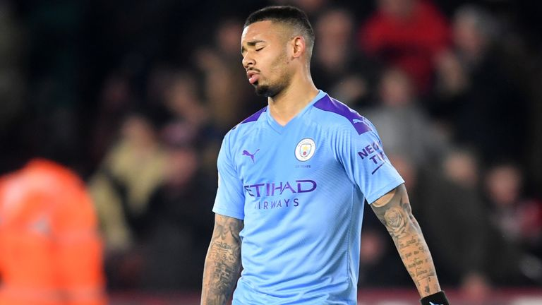 Gabriel Jesus reacts to missing his penalty