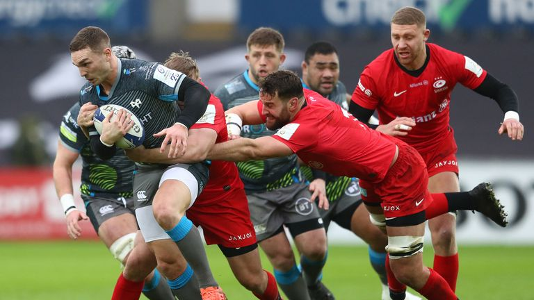 George North takes on the Sarries defence