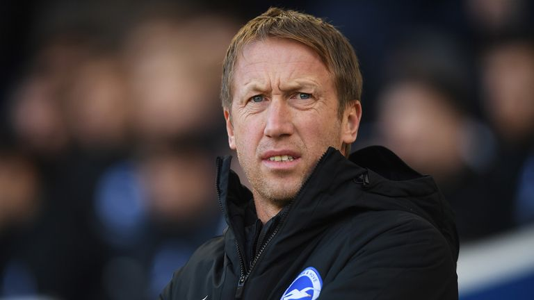 Brighton manager Graham Potter looks on during the FA Cup Third Round match between Brighton and Hove Albion and Sheffield Wednesday at Amex Stadium on January 04, 2020 in Brighton, England.