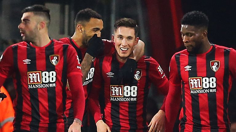 Harry Wilson celebrates scoring Bournemouth's opener