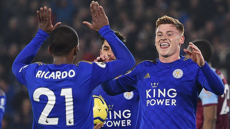 Harvey Barnes celebrates his goal with Ricardo Pereira