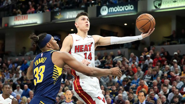 Tyler Herro #14 of the Miami Heat shoots the ball against the Indiana Pacers at Bankers Life Fieldhouse on January 08, 2020 in Indianapolis, Indiana.