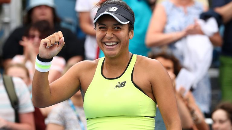 Heather Watson of Great Britain celebrates after winning match point during her Women's Singles first round match against Karolina Pliskova of Czech Republic on day three of the 2020 Australian Open at Melbourne Park on January 22, 2020 in Melbourne, Australia.